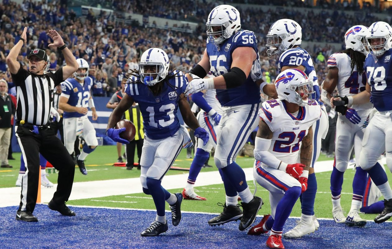 Colts wide receiver T.Y. Hilton celebrates a touchdown against the Bills. (James P. McCoy/Buffalo News)