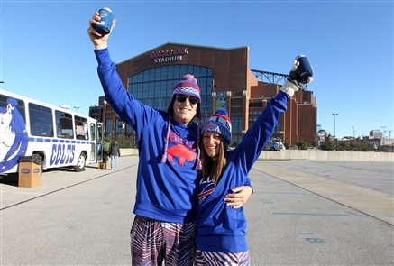 Bills fans gathered before kickoff at Lucas Oil Stadium on Oct. 21.