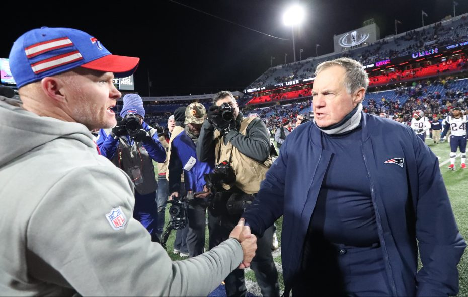 Bills head coach Sean McDermott and New England Patriots head coach Bill Belichick shake hands art the end of the game (James P. McCoy/Buffalo News)