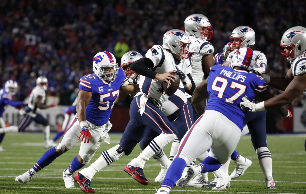 7070277ac93 Jordan Phillips puts pressure on Tom Brady in the Week 8 game. (Harry Scull