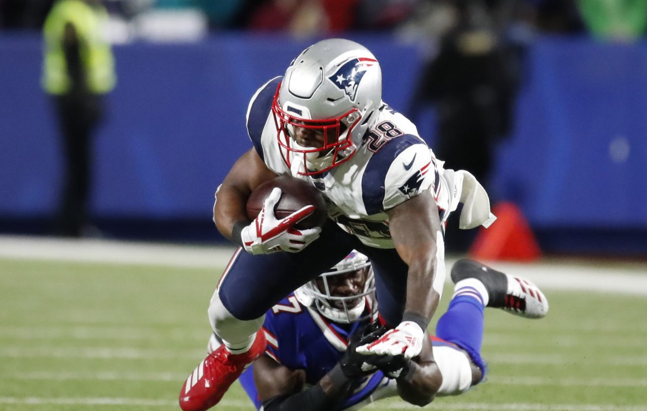 Buffalo Bills defensive back Tre'Davious White tackles New England Patriots running back James White during second quarter action at New Era Field on Monday, Oct. 29, 2018. (Harry Scull Jr./Buffalo News)