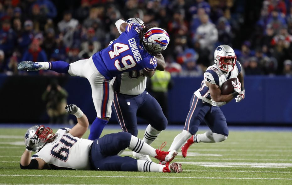 Buffalo Bills linebacker Tremaine Edmunds cannot get to New England Patriots running back James White. (Harry Scull Jr./Buffalo News)