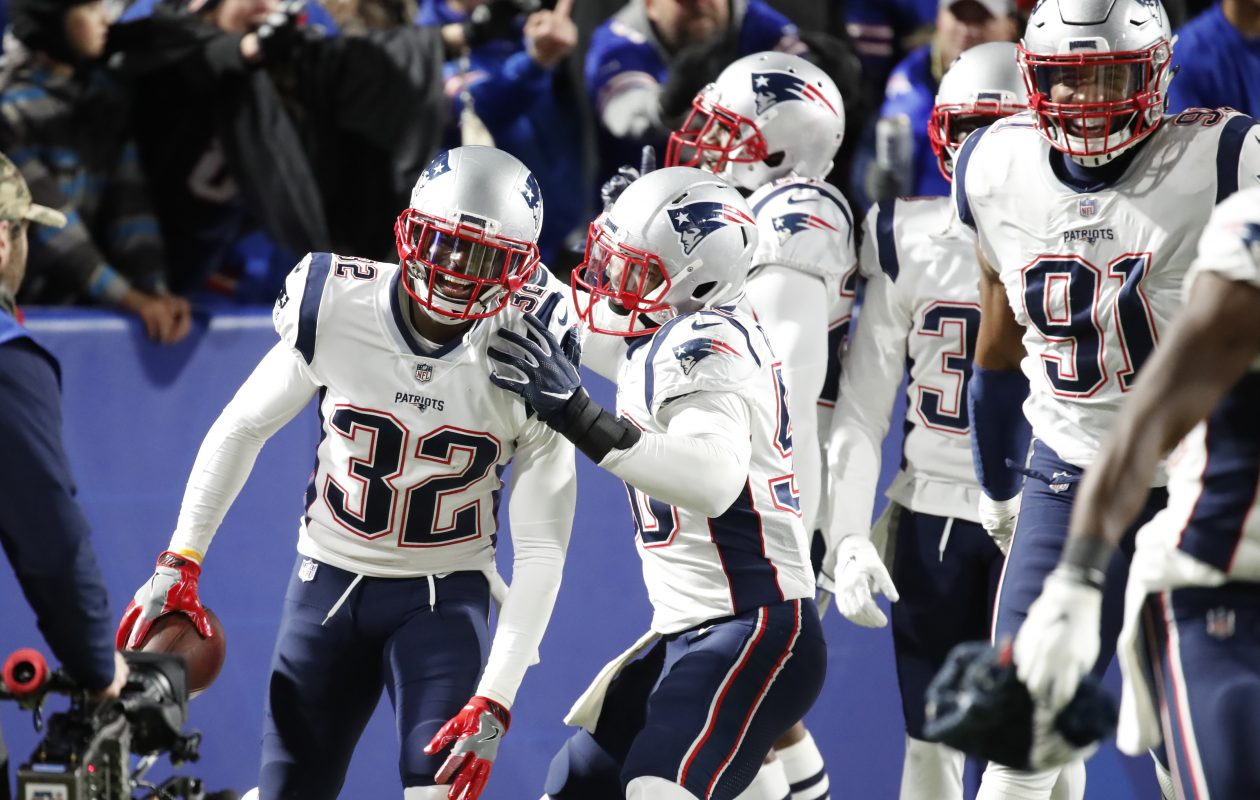 Patriots' Devin McCourty celebrates an interception for a touchdown against the Bills during fourth quarter action on Monday, Oct. 29, 2018. (Harry Scull Jr./Buffalo News)