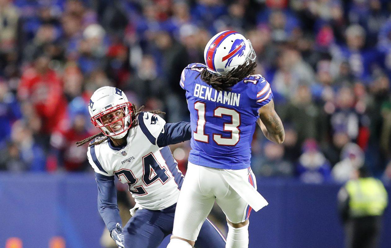 Kelvin Benjamin sees a pass broken up by Patriots' Stephon Gilmore. (Mark Mulville/Buffalo News)