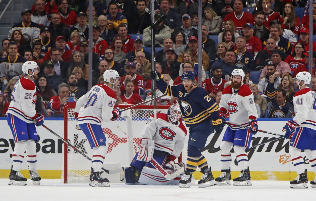 Sabres right wing Jason Pominville celebrates his second goal of the game Thursday at KeyBank Center against the Montreal Canadiens. (Harry Scull Jr./The Buffalo News)