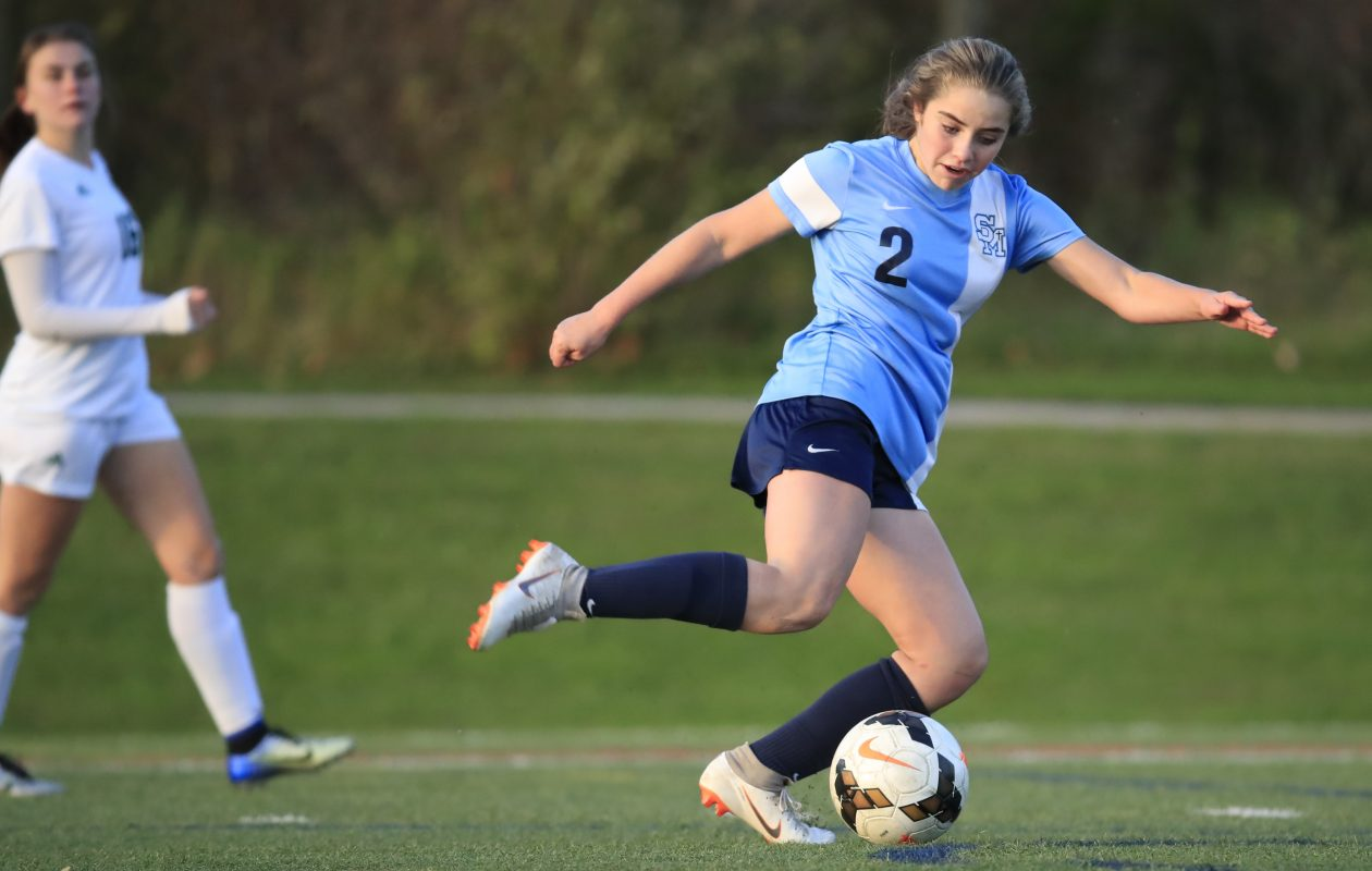 St. Mary's Shae O'Rourke scores against Nichols during second half action at Westwood Park on Tuesday, Oct. 16, 2018. (Harry Scull Jr./ Buffalo News)