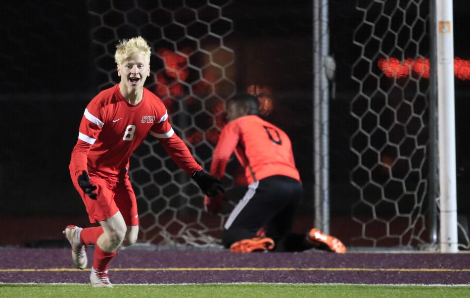 Southwestern player Chase Stevenson scores on a penalty kick to defeat Lafayette for the Class B-2 Championship at Tonawanda High School Wednesday, Oct. 25, 2018 (Harry Scull Jr./Buffalo News)