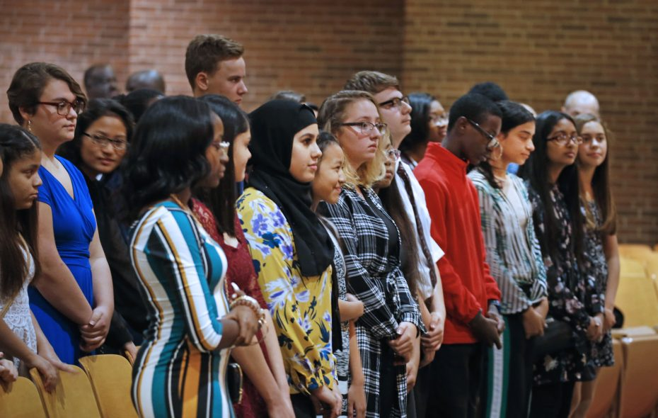 Students wait to be called to the stage to accept their medals at the Jesse Ketchum Memorial Fund's 147th annual ceremony recognizing academic excellence of 8th grade students at West Hertel Academy on Tuesday, Oct. 23, 2018. (Robert Kirkham/Buffalo News)