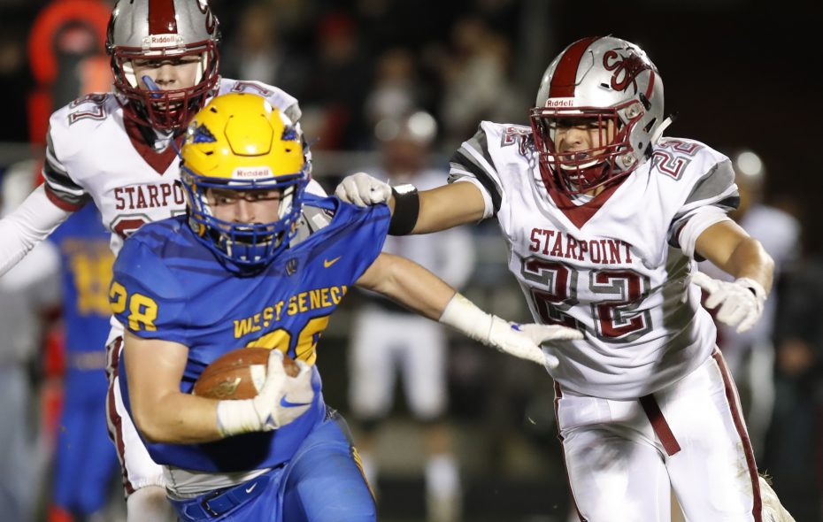 West Seneca West's John Speyer set the school record for rushing yards in a single game with 305, scored four touchdowns and made an interception during a win over Starpoint last Friday. (Harry Scull Jr./ Buffalo News)