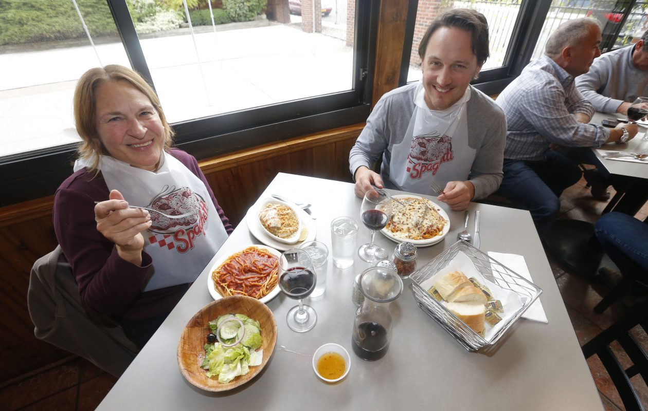 Jason Januszkiewicz and his mother Ellen Januszkiewicz of Orchard Park enjoy one last birthday lunch together celebrating her special day. Today is the last day that the legendary DiTondo's Restaurant on Seneca Street will be open. This was on Friday, Oct. 26, 2018.  (Robert Kirkham/Buffalo News)