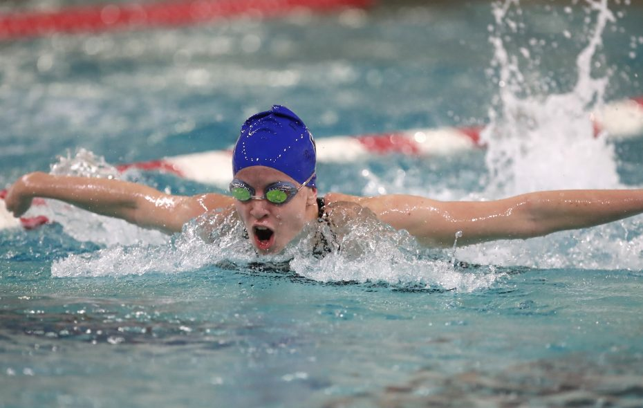 Madison Kramer from Frewsburg swims the butterfly and wins the Girls 200 Yard IM at the Section VI Class C Swimming Championships at the  Burt Flickinger Center. (Harry Scull Jr./Buffalo News)