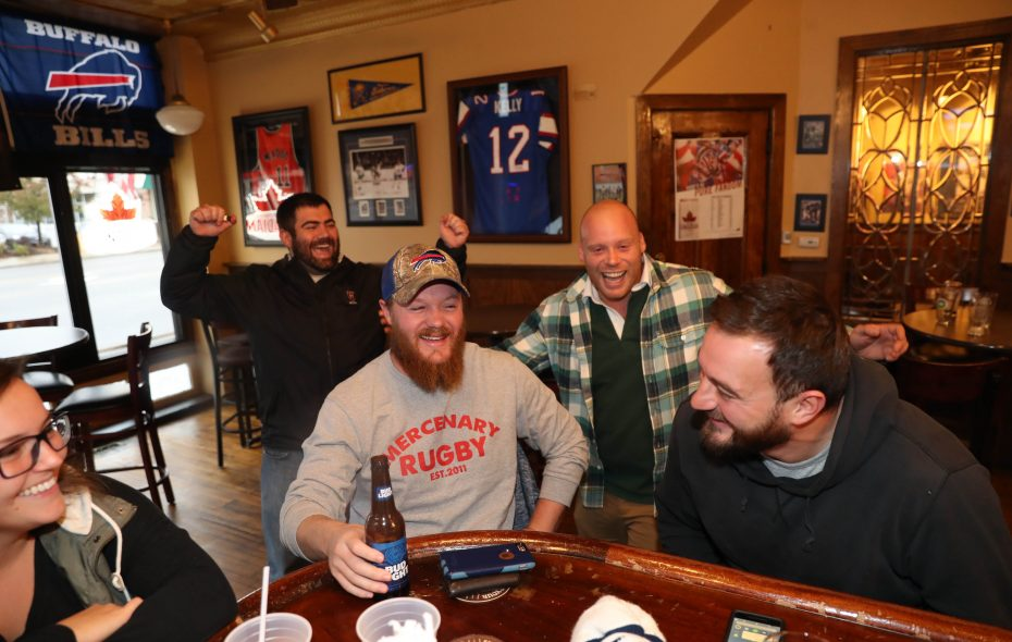"A group of friends share some laughs while hanging out at KO Bar & Grill. From left are Liz Flowers, Alex Brussard, Collin DeGuehery, Clarence Picard and Jeff ""Fluff"" Wells. (Sharon Cantillon/Buffalo News)"