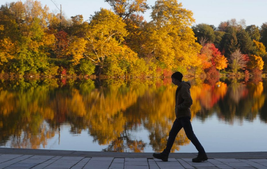 Andrew Webster, a forester tech at Olmsted Parks, walks to work in Delaware Park as colorful leaves on trees are reflected in Hoyt Lake.	(John Hickey/Buffalo News)