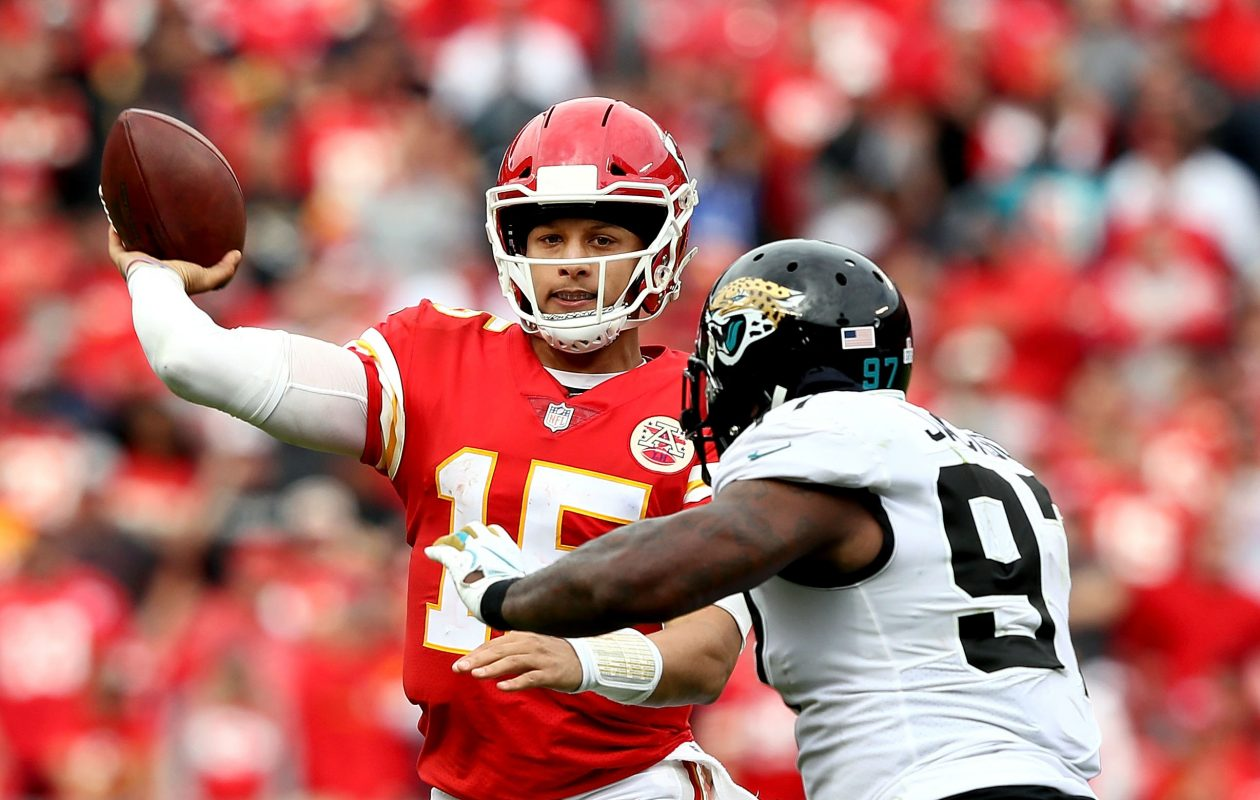 Patrick Mahomes and the Chiefs make another trip to New England to face the Patriots Sunday night. (Getty Images)