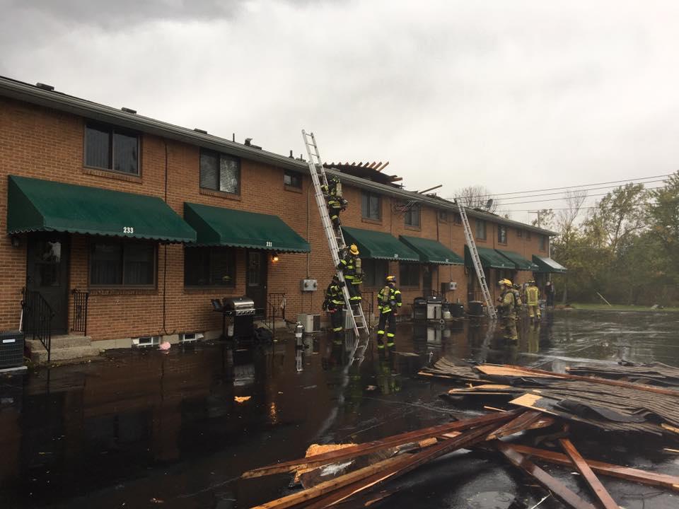 A funnel cloud ripped the roof off a condominium complex in West Seneca, police said. (Photo courtesy of Seneca Hose Company #1)