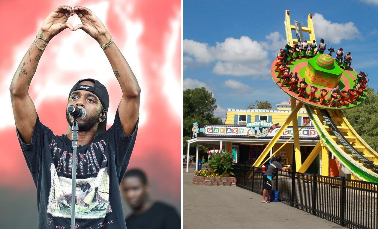 6lack, performing in London, England, filmed 'Pretty Little Fears' at several Buffalo-area locations, with J. Cole. Right is Fantasy Island on Grand Island Boulevard in Grand Island. (Getty Images; John Hickey/News file photo)