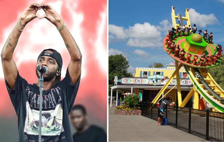 """6lack, performing in London, England, filmed """"Pretty Little Fears"""" at several Buffalo-area locations, with J. Cole. Right is Fantasy Island on Grand Island Boulevard in Grand Island. (Getty Images; John Hickey/News file photo)"""