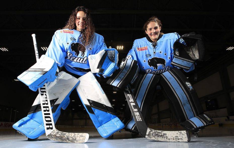 Buffalo Beauts goaltenders Shannon Szabados, left, and Nicole Hensley. (Harry Scull Jr./Buffalo News)