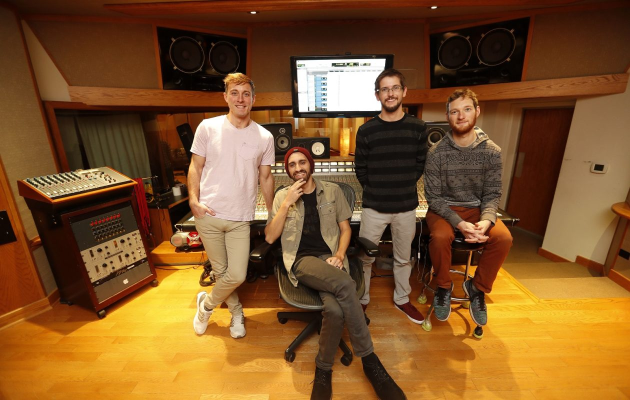 Aqueous, pictured at GCR Audio, is, from left: Rob Houk, Mike Gantzer, Dave Loss and Evan McPhaden.  (Mark Mulville/Buffalo News)