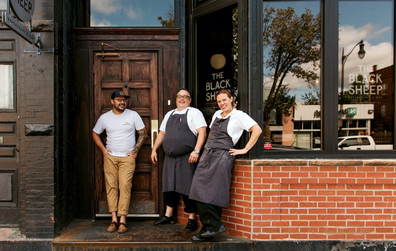 Three Buffalo restaurant people leading the collaborative charge are, from left, Ed Forster of The Dapper Goose and Steve and Ellen Gedra, owners of Black Sheep. They recently joined forces for Gedra's Sunday Supper 716, where area chefs come together and produce a special prix fixe menu for one night only. (Katie Friedman)