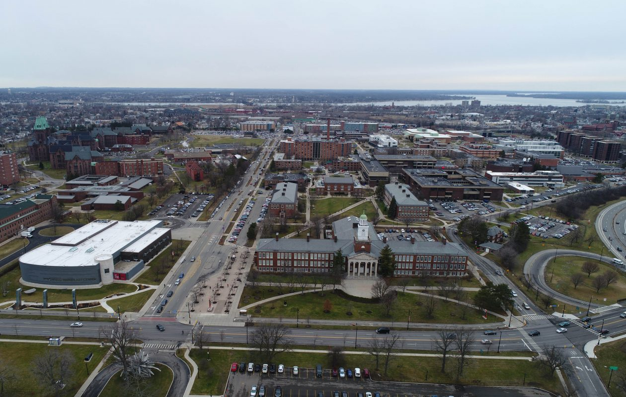 The SUNY Buffalo State College campus viewed from above Elmwood Avenue, looking west. (Derek Gee/News file photo)