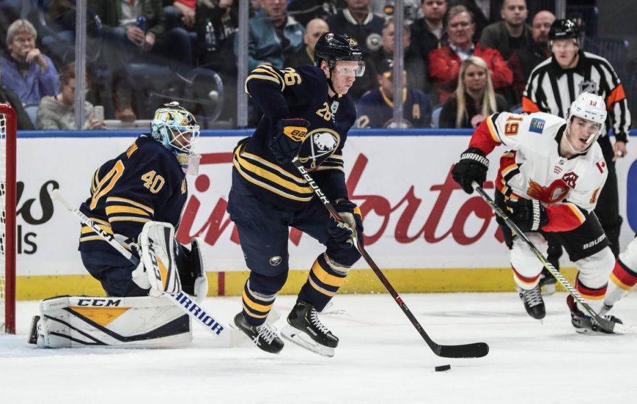 Rasmus Dahlin's breakouts have helped the Sabres' defense this season. (James P. McCoy/Buffalo News)