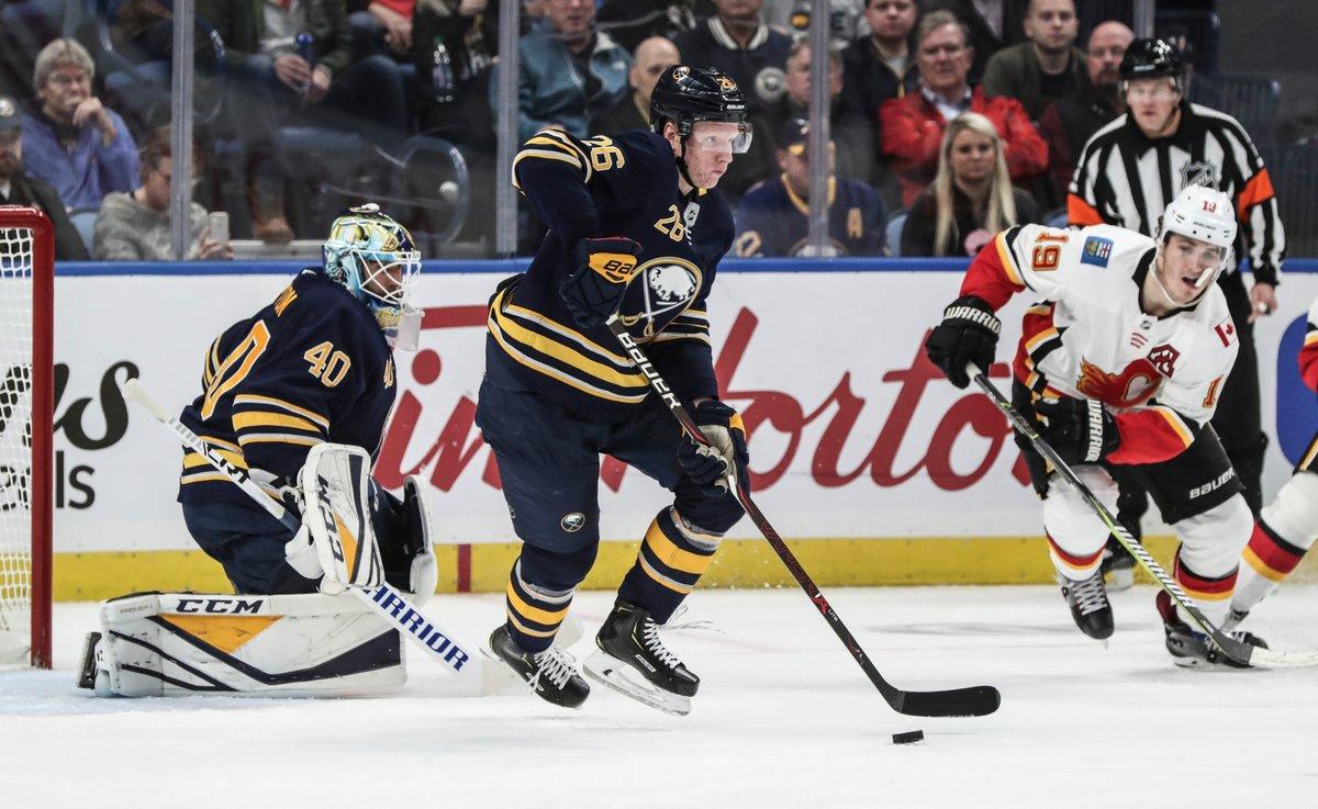 Rasmus Dahlin's breakouts have helped the Sabres' defense this season. (James P. McCoy/Buffalo News)