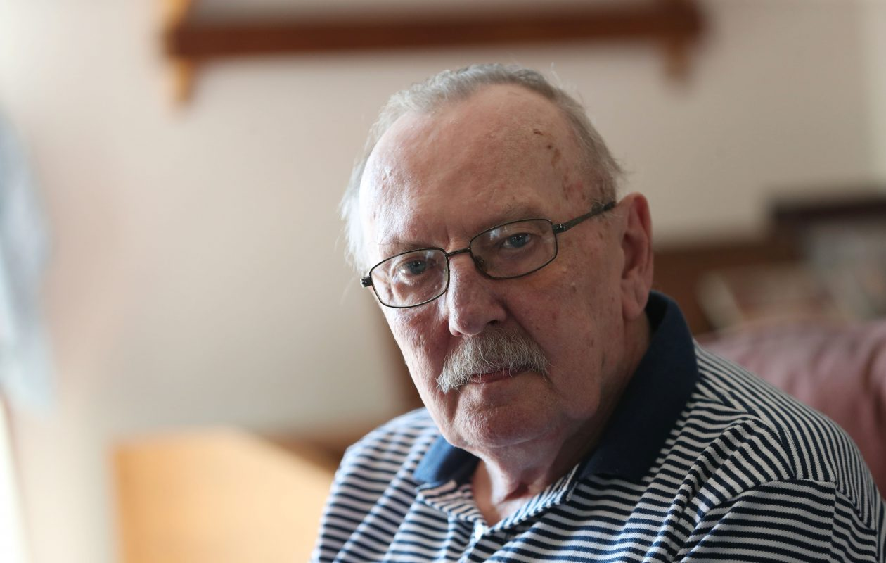 Dennis Louth, 71, of the Town of Tonawanda, was a door gunner in an Army helicopter in Vietnam for 18 months in 1966-68. Of his company'soriginal 107 men, half were killed or wounded by the time Louth's tour of duty ended in June 1968, he said.(Sharon Cantillon/Buffalo News)