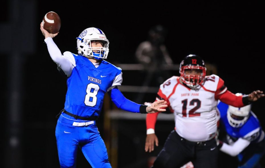 Cam Sionko passed for three touchdowns and caught a pass for a score to help Grand Island advance to the Section VI Class A semifinals. (Harry Scull Jr./Buffalo News)