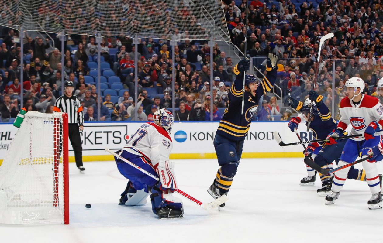 Jason Pominville (29) celebrates after Kyle Okposo scored the game-winning goal with 1:01 left in regulation in the Buffalo Sabres' 4-3 win Thursday against the Montreal Canadiens. (Harry Scull Jr./The Buffalo News)