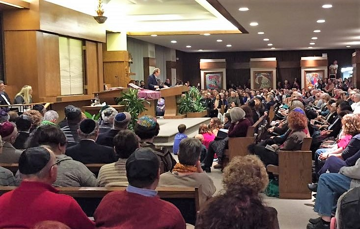 Hundreds of Western New Yorkers packed Temple Beth Tzedek in honor of the victims of Saturday's mass shooting in a Pittsburgh synagogue. (Keith McShea/Buffalo News)