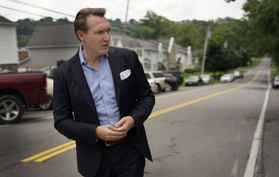 Grand Island Supervisor Nate McMurray, who is running for Congress in the 27th Congressional District against Rep. Chris Collins, campaigns in Lewiston back in August. (Derek Gee/Buffalo News)