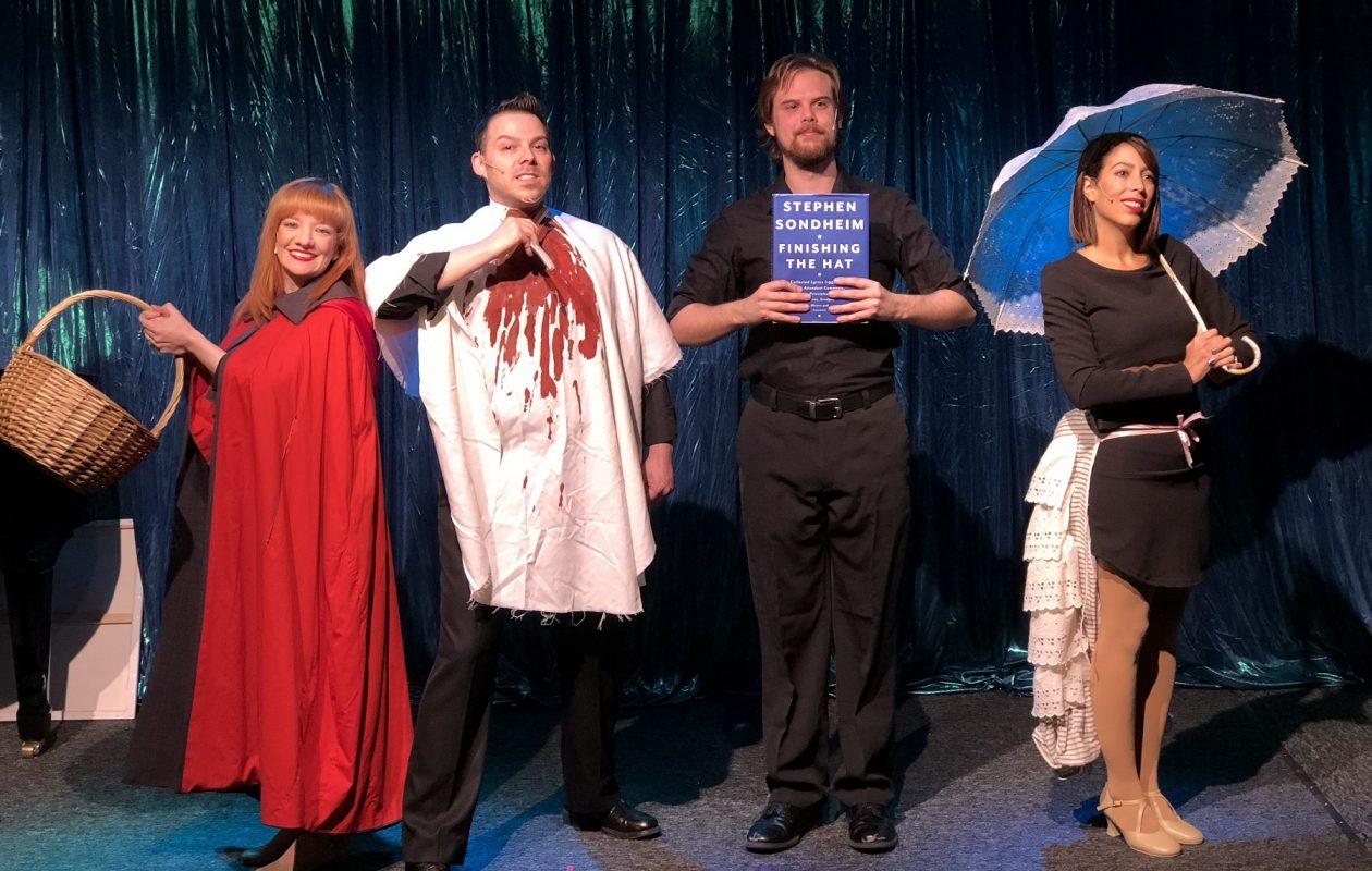 Maria Droz, left, Marc Sacco, Dan Urtz and Nicole Marrale Cimato star in 'Forbidden Broadway's Greatest Hits.' The musical revue is on stage at Premier Cabaret in MusicalFare Theatre through Nov. 4. (Photo by Michael Wachowiak)