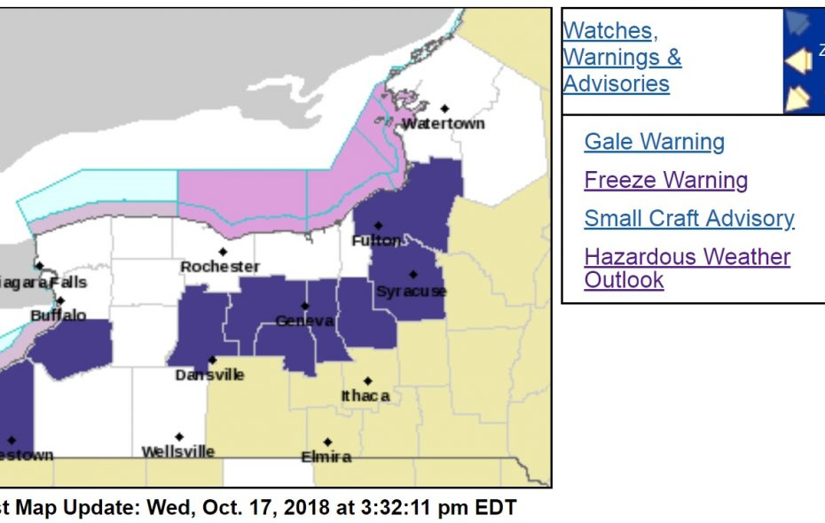 The coldest air of the season is expected across Western New York today, prompting the National Weather Service to issue freeze warnings. (NWS Buffalo)