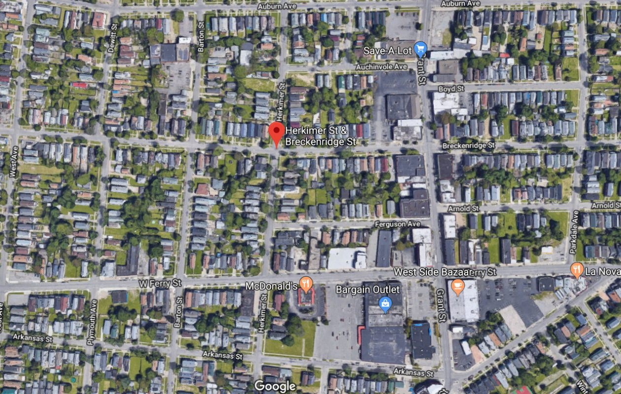 A driver allegedly fled after hitting a school bus on Breckenridge and Herkimer streets in the Elmwood Village, according to police. (Image via Google)