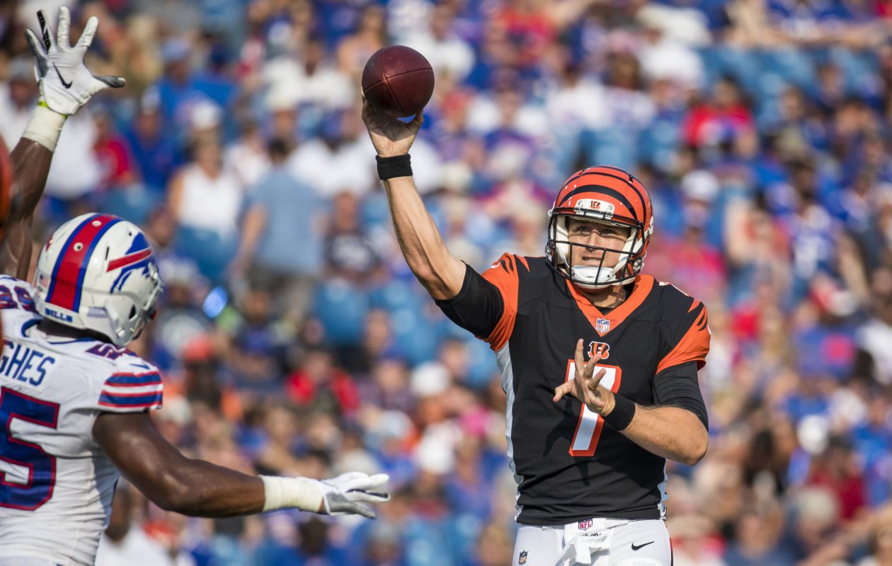 Matt Barkley passes the ball during the second quarter of a preseason game between Cincinnati Bengals and the Buffalo Bills. (Brett Carlsen/Getty Images)