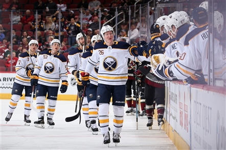 Rasmus Dahlin scored his first NHL goal Saturday night in the Sabres' game against the Arizona Coyotes in Glendale, Ariz.