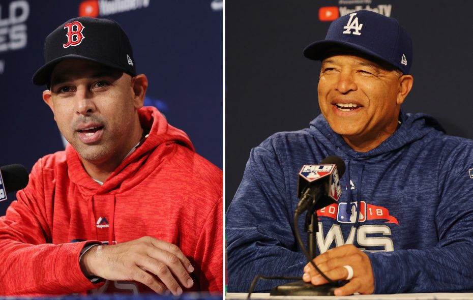 Red Sox manager Alex Cora, left, and Dodgers manager Dave Roberts, right. (Getty Images)