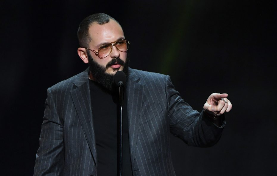 Adult film director/producer Greg Lansky the self-described Steven Spielberg of porn, accepts the award for Director of the Year during the 2018 Adult Video News Awards at The Joint inside the Hard Rock Hotel & Casino in January in Las Vegas. (Getty Images)