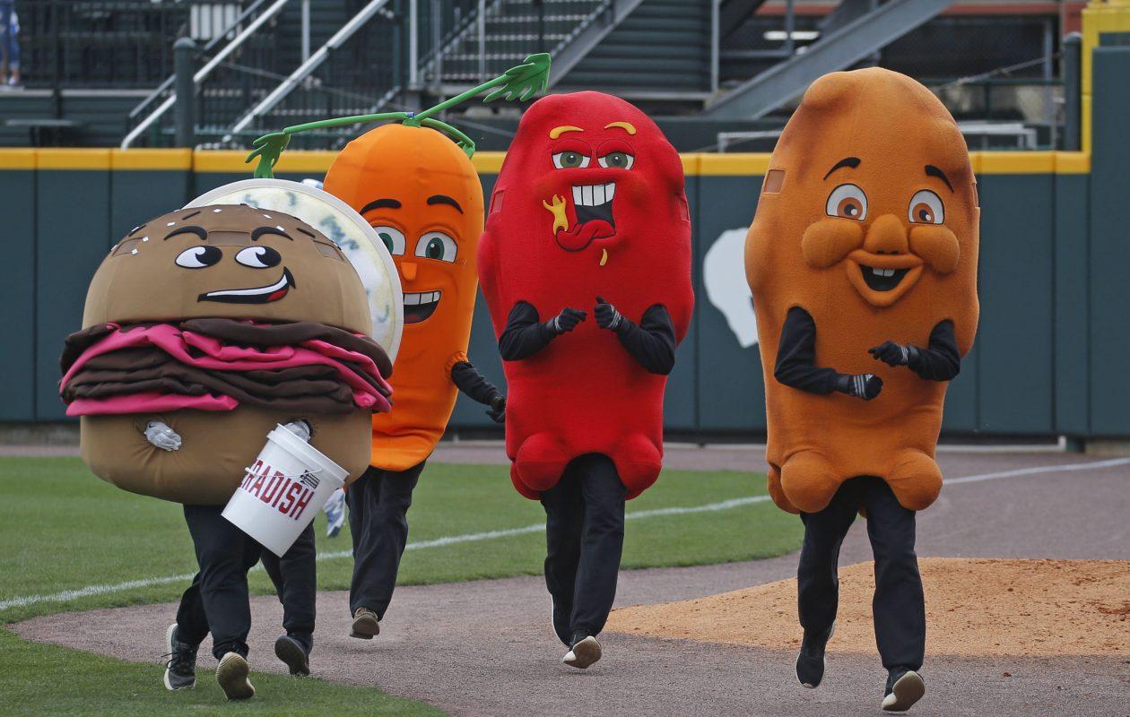 Will Hot Dog join the food-based characters who race between innings at Bisons games? It would relish the chance. (Robert Kirkham/Buffalo News file photo)