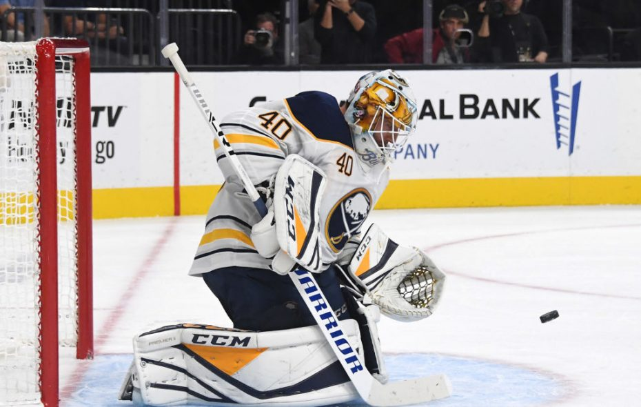 Carter Hutton makes a second-period save Tuesday night in Vegas (Getty Images).