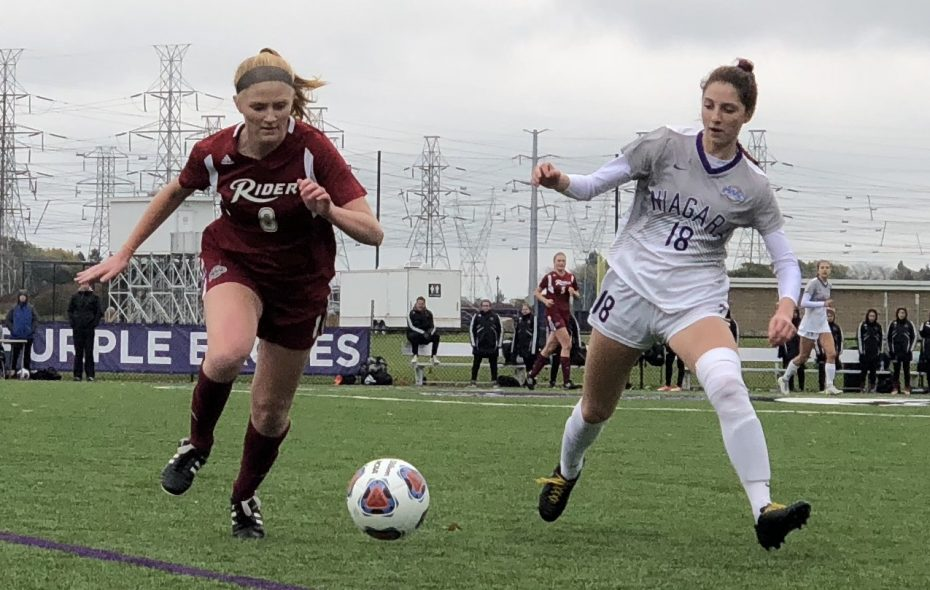 Annie Ibey, right, scored two goals in Niagara's 2-1 win over Rider in the MAAC quarterfinals. (Ben Tsujimoto/Buffalo News)