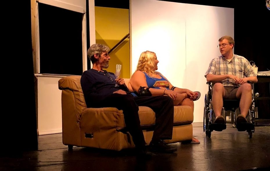 "John Profeta, left, Jessica Levesque and Steve Brachmann star in ""And Where Will You Put the Things You Save?,"" the debut play for the Inclusive Theater of WNY. (Photo courtesy of Inclusive Theater)"