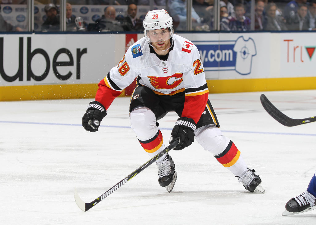 Elias Lindholm's eighth goal of the season was the game-winner for the Calgary Flames Monday in Toronto (Getty Images).