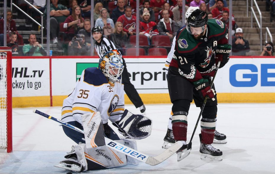 Linus Ullmark, shown making a save last Saturday against Arizona's Derek Stepan, is back in net for the Sabres today in Los Angeles (Getty Images).