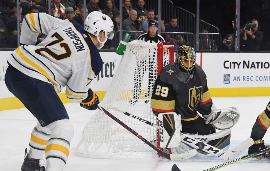 Vegas goalie Marc-Andre Fleury blocks a shot by Sabres winger Tage Thompson in the first period (Getty Images).