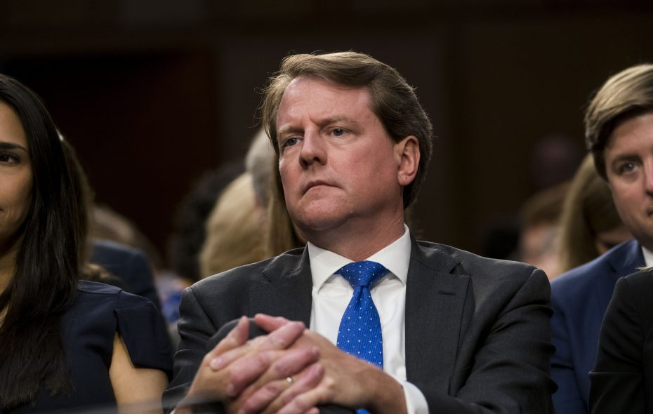 Don McGahn, the White House counsel, during a Senate hearing in Washington, Sept. 4, 2018. McGahn departed from his position on Oct. 17, 2018, ending a tumultuous 21-month tenure where he spearheaded some of President Donald Trump's most significant political accomplishments but also became a witness against him in the special counsel inquiry. (Doug Mills/The New York Times)