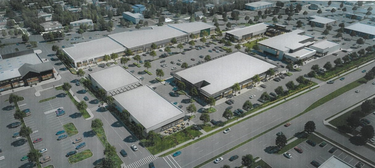This rendering shows an aerial view of WS Development's plans for the Northtown Plaza site in Amherst. Work on the project is delayed until next year, with stores expected to open in 2020. (Image courtesy WS Development)