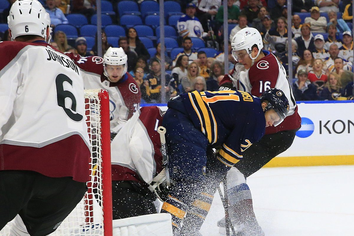 Kyle Okposo drives the net to score in the final minute of the first period but the goal was disallowed because he interfered with Colorado netminder Semyon Varlamov (Sharon Cantillon/Buffalo News).