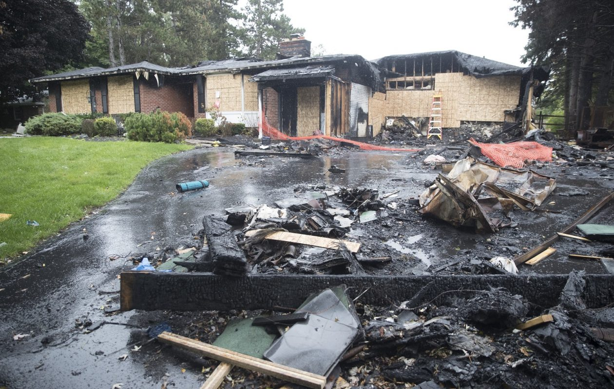 The result of a fire at 125 Pleasant View Drive in Lancaster. Firefighting efforts were hampered by old water lines and decreased water pressure.  (John Hickey/Buffalo News)